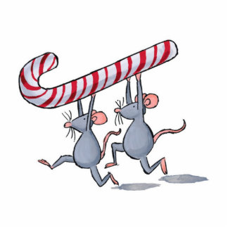 mice holding candy cane running christmas ornament