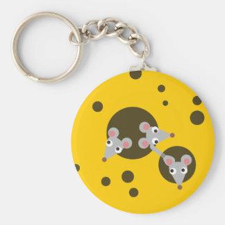 Mice in cheese basic round button keychain