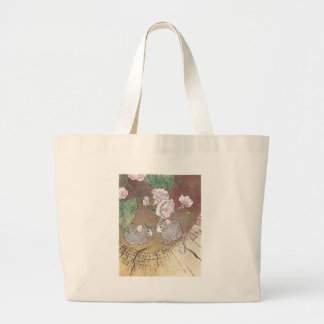 Mice in Log with Roses Canvas Bags