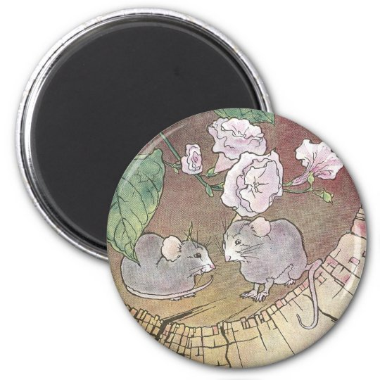 Mice in Log with Roses Magnet