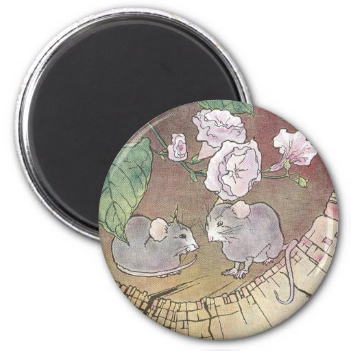 Mice in Log with Roses Refrigerator Magnet