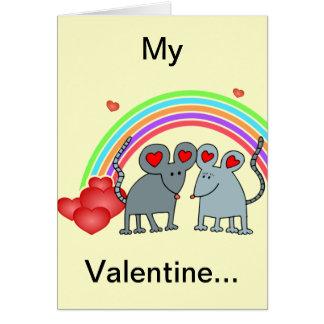Mice in Love Valentines Card