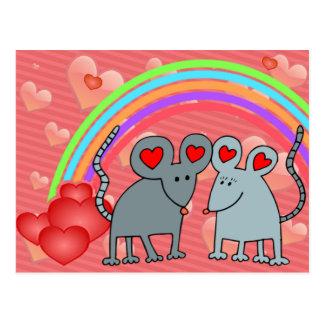 Mice in Love Valentines Postcard