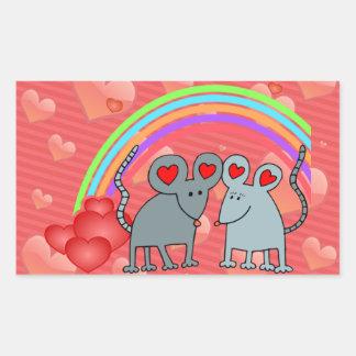 Mice in Love Valentines Rectangular Sticker