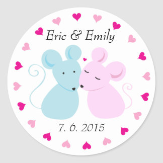 Mice love round label classic round sticker