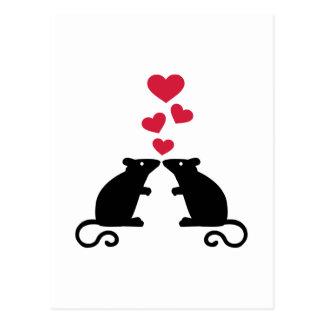 Mice mouse hearts love postcard