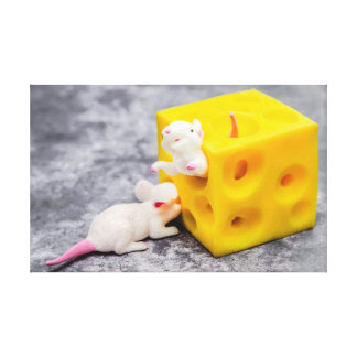 Mice on Cheese Funny Toys Canvas