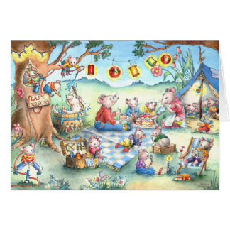 Mice Picnic Camping - Birthday Greeting Card