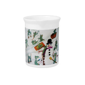 MICE PLAY IN THE SNOW CHRISTMAS pitcher