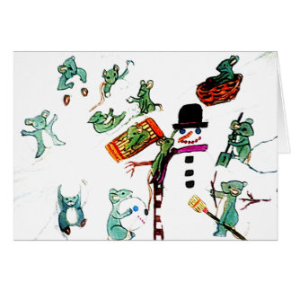 MICE PLAY IN THE SNOW holiday card