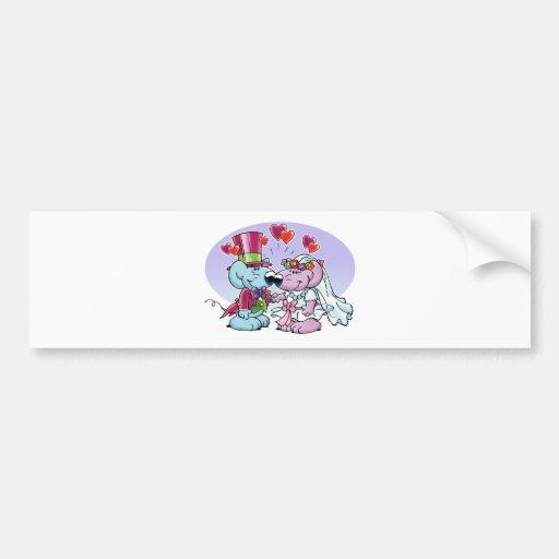 Mice wedding couple car bumper sticker