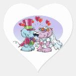 Mice wedding couple heart sticker