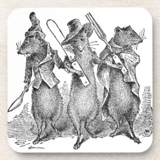 Mice with Silverware Beverage Coaster