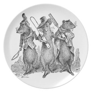 Mice with Silverware Melamine Plate