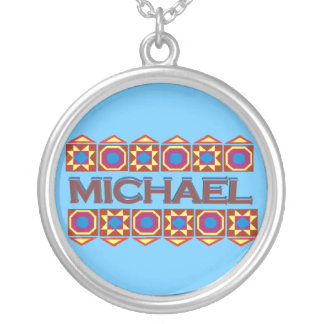 Michael Abstract art southwestern over light blue Round Pendant Necklace