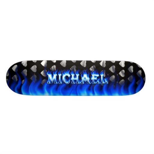 Michael blue fire Skatersollie skateboard. Custom Skateboard
