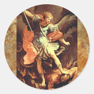 Michael el arcángel pegatina redonda