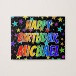 "[ Thumbnail: ""Michael"" First Name, Fun ""Happy Birthday"" Jigsaw Puzzle ]"