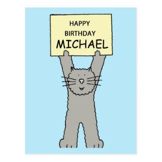 Michael Happy Birthday Grey Cat Postcard