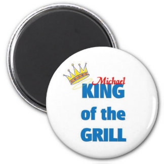 Michael king of the grill 2 inch round magnet