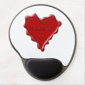 Michael. Red heart wax seal with name Michael Gel Mouse Pad