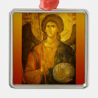 Michael the Archangel Square Metal Christmas Ornament