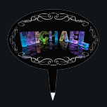 """Michael  - The Name Michael in 3D Lights (Photogra Cake Topper<br><div class=""""desc"""">Pink TemplateA little magic for the star Michael in your life! The name Michael is reflected in still water, with floating foil hexagons. The letters look as if they&#39;re carved from crackled ice or crystal. This image is a photograph of handmade letters, which change randomly, producing unique patterns and colors...</div>"""