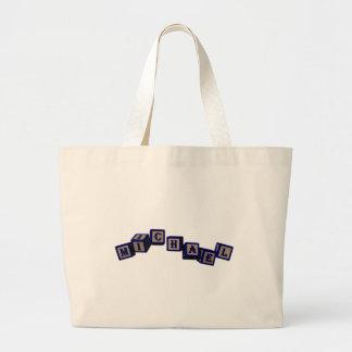 Michael toy blocks in blue bags