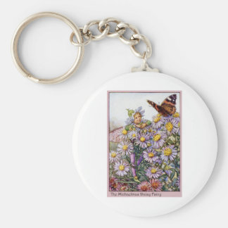 Michaelmas Daisy Fairy Basic Round Button Keychain