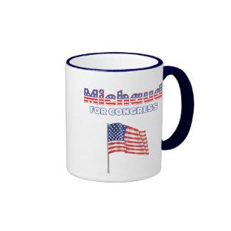 Michaud for Congress Patriotic American Flag Ringer Coffee Mug