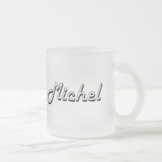 Michel Classic Retro Name Design 10 Oz Frosted Glass Coffee Mug