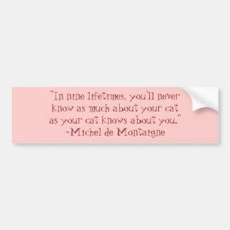 Michel de Montaigne Cat Quote Bumper Sticker