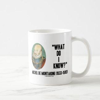 Michel de Montaigne What Do I Know? Quote Mugs