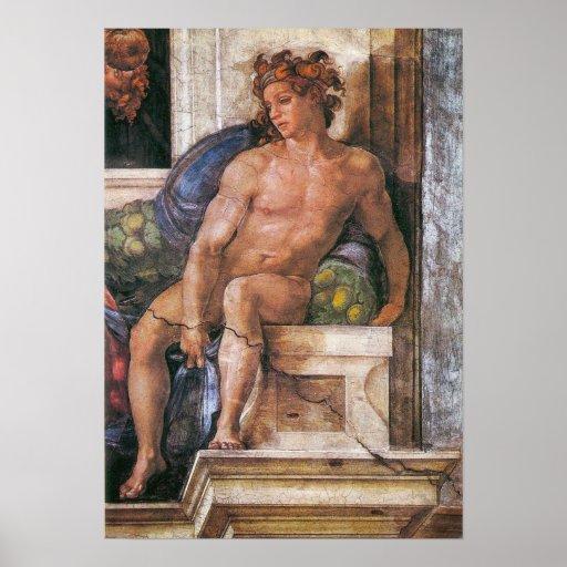Michelangelo - Above the Delphic Sybille Poster