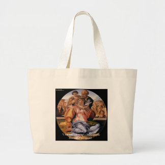 "Michelangelo Art & Famous ""Learning"" Quote Large Tote Bag"