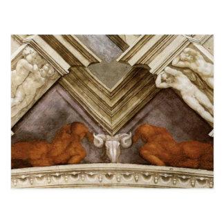 Michelangelo Bronze Nudes Sistine Chapel Postcard