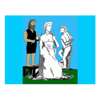Michelangelo Carving David Postcard