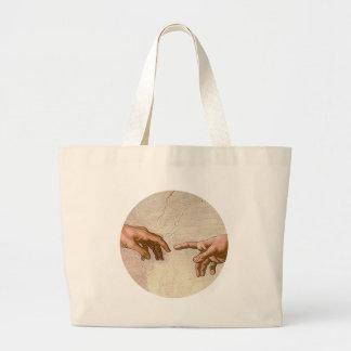 Michelangelo Creation of Adam round Large Tote Bag