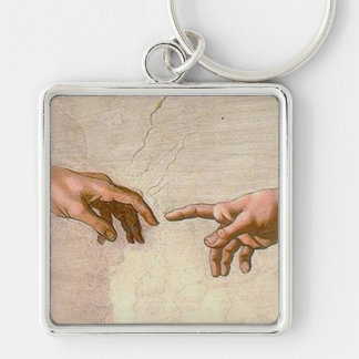 Michelangelo Creation of Adam Silver-Colored Square Keychain