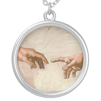 Michelangelo Creation of Adam Silver Plated Necklace