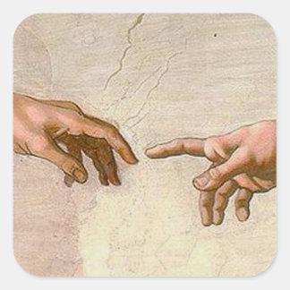 Michelangelo Creation of Adam Square Sticker