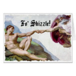 Michelangelo Creation Of Man Fo Shizzle Fist Bump Greeting Cards