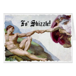Michelangelo Creation Of Man Fo Shizzle Fist Bump Card