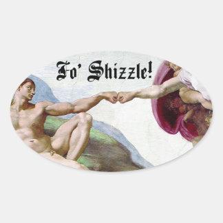 Michelangelo Creation Of Man Fo Shizzle Fist Bump Oval Sticker