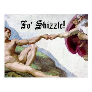 Michelangelo Creation Of Man Fo Shizzle Fist Bump Postcard
