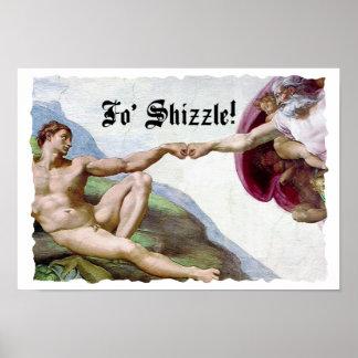 Michelangelo Creation Of Man Fo Shizzle Fist Bump Print