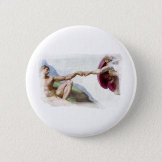 Michelangelo Creation Of Man - God Adam Fist Bump Button
