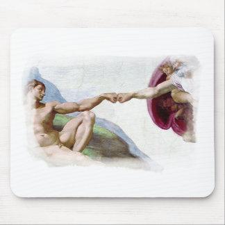 Michelangelo Creation Of Man - God Adam Fist Bump Mouse Pad