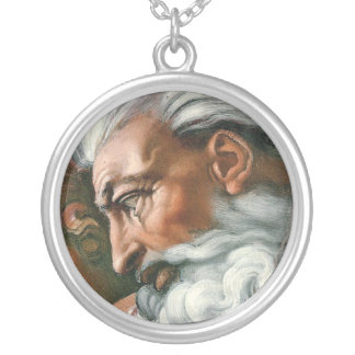 Michelangelo God in the Creation of Adam Silver Plated Necklace
