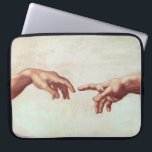 "Michelangelo Hands Laptop Sleeve<br><div class=""desc"">Michelangelo Hands laptop sleeve. Fresco Sistine Chapel. One of the most iconic scenes in Western art. This detail from Michelangelo's creation of Adam shows God reaching down to touch fingers with his creation. The work is charged with religious and cultural import and stands as one of the most recognized images...</div>"